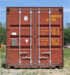 Used Steel Storage Container, End View Doors Closed
