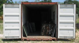 Used Steel Storage Container, End View Doors Open