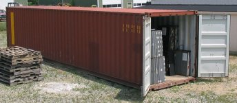 Used Steel Storage Container, Orthographic View Doors Open